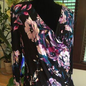 Stunning floral mock wrap blouse silky drape top